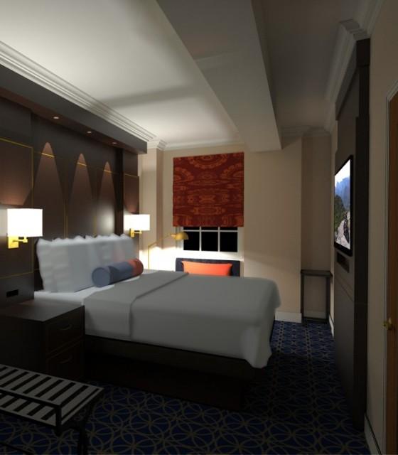 Hotel Saranac 3D Rendering Guestroom Design